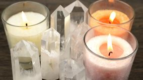 Crystals and candles Stock Photos