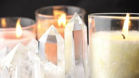 Crystals and candles when viewed from side Stock Photography