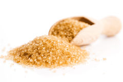 Crystals cane sugar heap close up Royalty Free Stock Photos