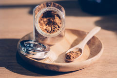 Crystals cane sugar heap. Coffee Royalty Free Stock Photography