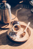 Crystals cane sugar heap. Coffee Royalty Free Stock Photos