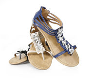Crystals decorated flat sandals stock image