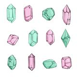Crystals and Diamonds Hand drawn vector illustration