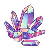 Crystals druse isolated on white background hand drawn vector illustration. Patch, sticker or print design Royalty Free Stock Photo