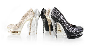 Crystals encrusted heel shoes Royalty Free Stock Photography