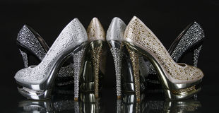 Crystals encrusted heel shoes collection Stock Photo