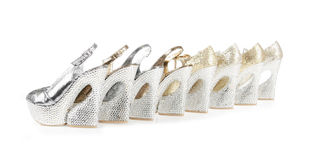 Crystals encrusted platform shoes collections Royalty Free Stock Images