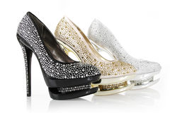 Crystals encrusted shoes Stock Images