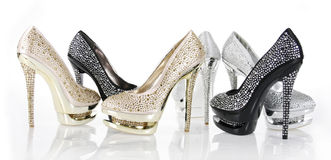 Crystals encrusted shoes collection Stock Photography