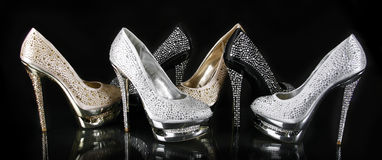 Crystals encrusted shoes collection stock photo