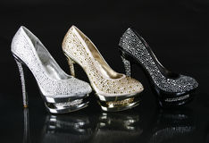 Crystals encrusted shoes collection Royalty Free Stock Photography