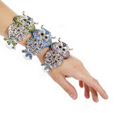 Crystals encrusted silver owls bracelets Royalty Free Stock Photo