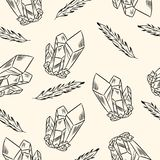 Crystals and feathers seamless boho pattern. Vector image stock illustration