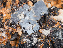 Crystals of Galena and Sphalerite on dolomite rock. Macro shooting of natural mineral stone - crystals of Galena (lead glance) and Sphalerite (zinc blende) on Stock Photos