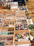 Crystals and gemstone sin wooden boxes Royalty Free Stock Photos