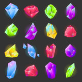 Crystals or gemstones of different forms and shapes vecor icons set Royalty Free Stock Photography