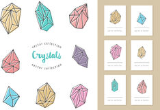 Crystals - hand drawn elements Stock Image