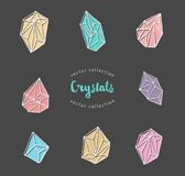 Crystals - hand drawn elements Royalty Free Stock Image