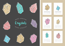 Crystals - hand drawn elements Stock Images