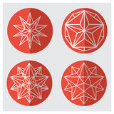 Crystals. Hexagonal shapes set. Round icons of geometric shapes. The complex geometry . polygonal mesh . Vector illustrations .Christmas and new year concept Stock Illustration