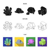 Crystals, iron ore. Precious minerals and a jeweler set collection icons in black,flat,outline style vector symbol stock. Illustration Royalty Free Stock Image