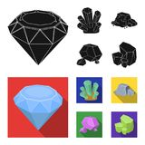 Crystals, iron ore. Precious minerals and a jeweler set collection icons in black, flat style vector symbol stock. Illustration Stock Images
