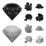 Crystals, iron ore. Precious minerals and a jeweler set collection icons in black,monochrom style vector symbol stock. Illustration Stock Images