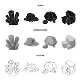 Crystals, iron ore. Precious minerals and a jeweler set collection icons in black,monochrome,outline style vector symbol. Stock illustration Stock Images