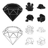 Crystals, iron ore. Precious minerals and a jeweler set collection icons in black,outline style vector symbol stock. Illustration Royalty Free Stock Photo