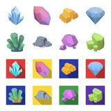 Crystals, iron ore. Precious minerals and a jeweler set collection icons in cartoon,flat style vector symbol stock. Illustration Stock Photo