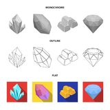 Crystals, iron ore. Precious minerals and a jeweler set collection icons in flat,outline,monochrome style vector symbol. Stock illustration Stock Photo