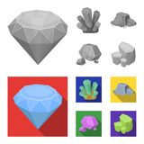 Crystals, iron ore. Precious minerals and a jeweler set collection icons in monochrome,flat style vector symbol stock. Illustration Stock Photos
