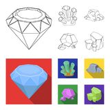 Crystals, iron ore. Precious minerals and a jeweler set collection icons in outline,flat style vector symbol stock. Illustration Royalty Free Stock Photography
