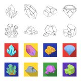 Crystals, iron ore. Precious minerals and a jeweler set collection icons in outline,flat style vector symbol stock. Illustration Royalty Free Stock Photos