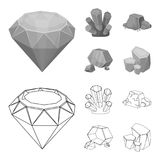 Crystals, iron ore. Precious minerals and a jeweler set collection icons in outline,monochrome style vector symbol stock. Illustration Royalty Free Stock Images