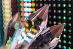 Crystals on the LED wall background. Bright colored stone crystals on the LED wall background  - close-up macro photo Stock Image