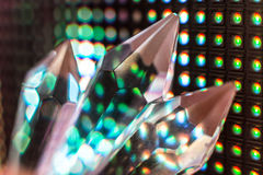 Crystals on the LED wall background. Bright colored stone crystals on the LED wall background  - close-up macro photo Stock Photography