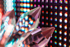 Crystals on the LED wall background. Bright colored stone crystals on the LED wall background  - close-up macro photo Royalty Free Stock Images