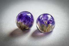 Crystals made of epoxy resin with Limonium Royalty Free Stock Photo