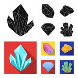 Crystals, minerals, gold bars. Precious minerals and jeweler set collection icons in black, flat style vector symbol. Stock illustration Royalty Free Stock Images
