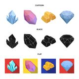 Crystals, minerals, gold bars. Precious minerals and jeweler set collection icons in cartoon,black,flat style vector. Symbol stock illustration Royalty Free Stock Images