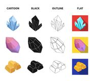 Crystals, minerals, gold bars. Precious minerals and jeweler set collection icons in cartoon,black,outline,flat style. Vector symbol stock illustration Royalty Free Stock Photography
