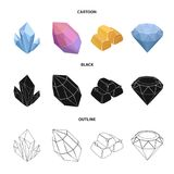 Crystals, minerals, gold bars. Precious minerals and jeweler set collection icons in cartoon,black,outline style vector. Symbol stock illustration Stock Photography