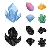 Crystals, minerals, gold bars. Precious minerals and jeweler set collection icons in cartoon,black style vector symbol. Stock illustration Royalty Free Stock Image