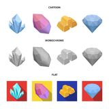 Crystals, minerals, gold bars. Precious minerals and jeweler set collection icons in cartoon,flat,monochrome style. Vector symbol stock illustration Stock Image