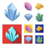 Crystals, minerals, gold bars. Precious minerals and jeweler set collection icons in cartoon,flat style vector symbol. Stock illustration Stock Photo