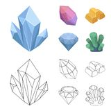 Crystals, minerals, gold bars. Precious minerals and jeweler set collection icons in cartoon,outline style vector symbol. Stock illustration Royalty Free Stock Images