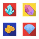 Crystals, minerals, gold bars. Precious minerals and jeweler set collection icons in flat style vector symbol stock Royalty Free Stock Photo