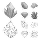 Crystals, minerals, gold bars. Precious minerals and jeweler set collection icons in outline,monochrome style vector. Symbol stock illustration Stock Images
