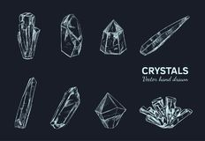 Crystals and Minerals. Vector 2. Crystals and Minerals. Vector hand drawn illustration. Isolated objects. Yoga. Spirituality Royalty Free Stock Images
